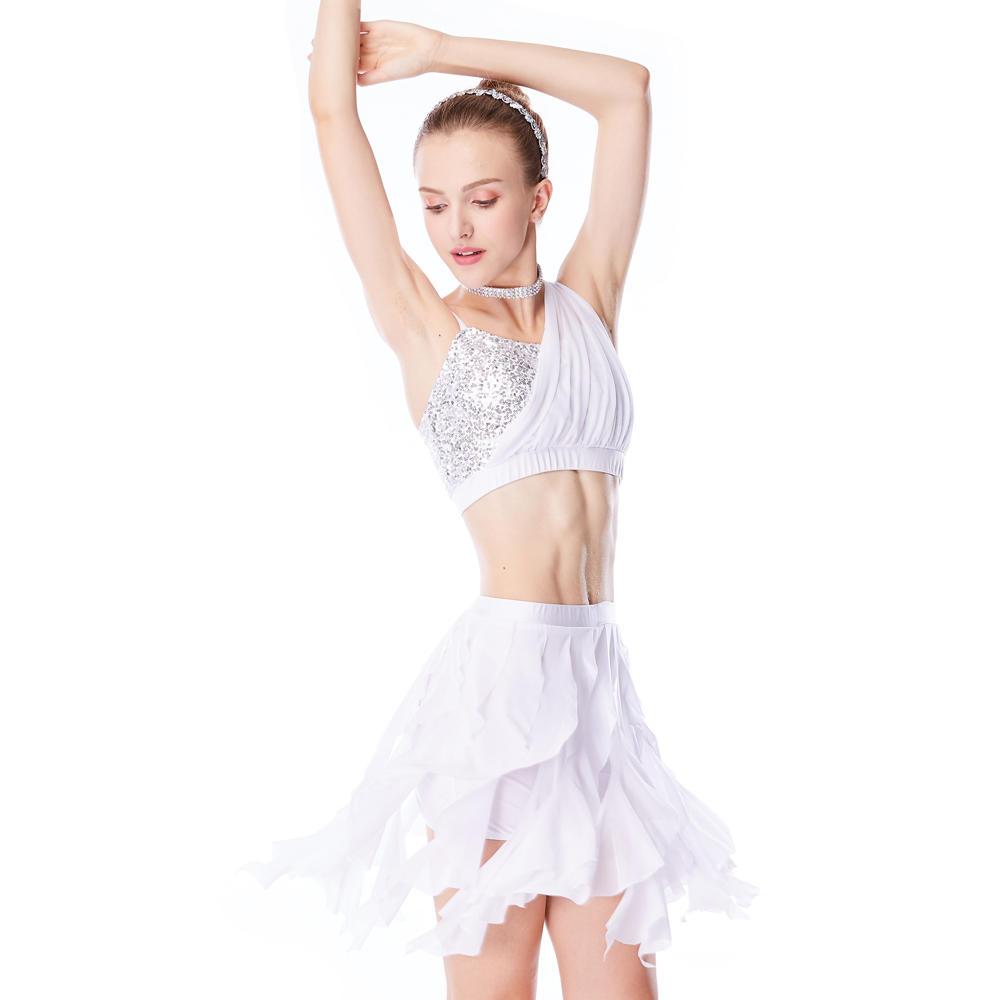 One-Shoulder Crop Top Mesh Over Sequins Spirals Mesh Tassel Skirt Lyrical Costume 2 Pieces