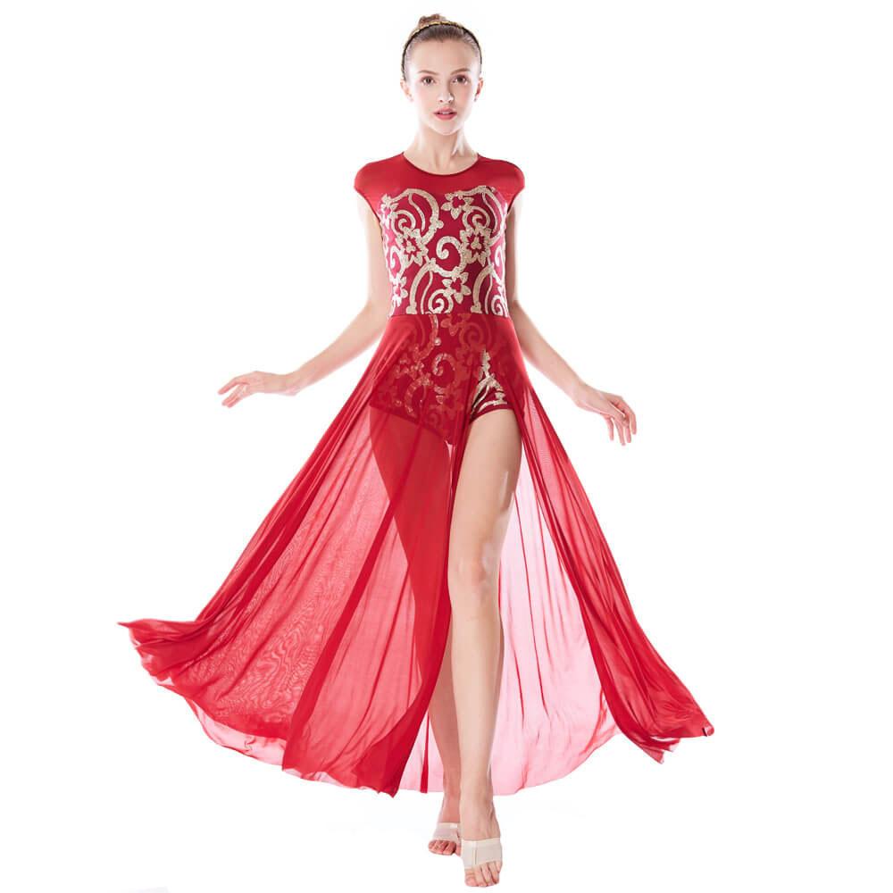 Elegant Floral Sequins Lyrical Costume Modern Dance Performance Dress