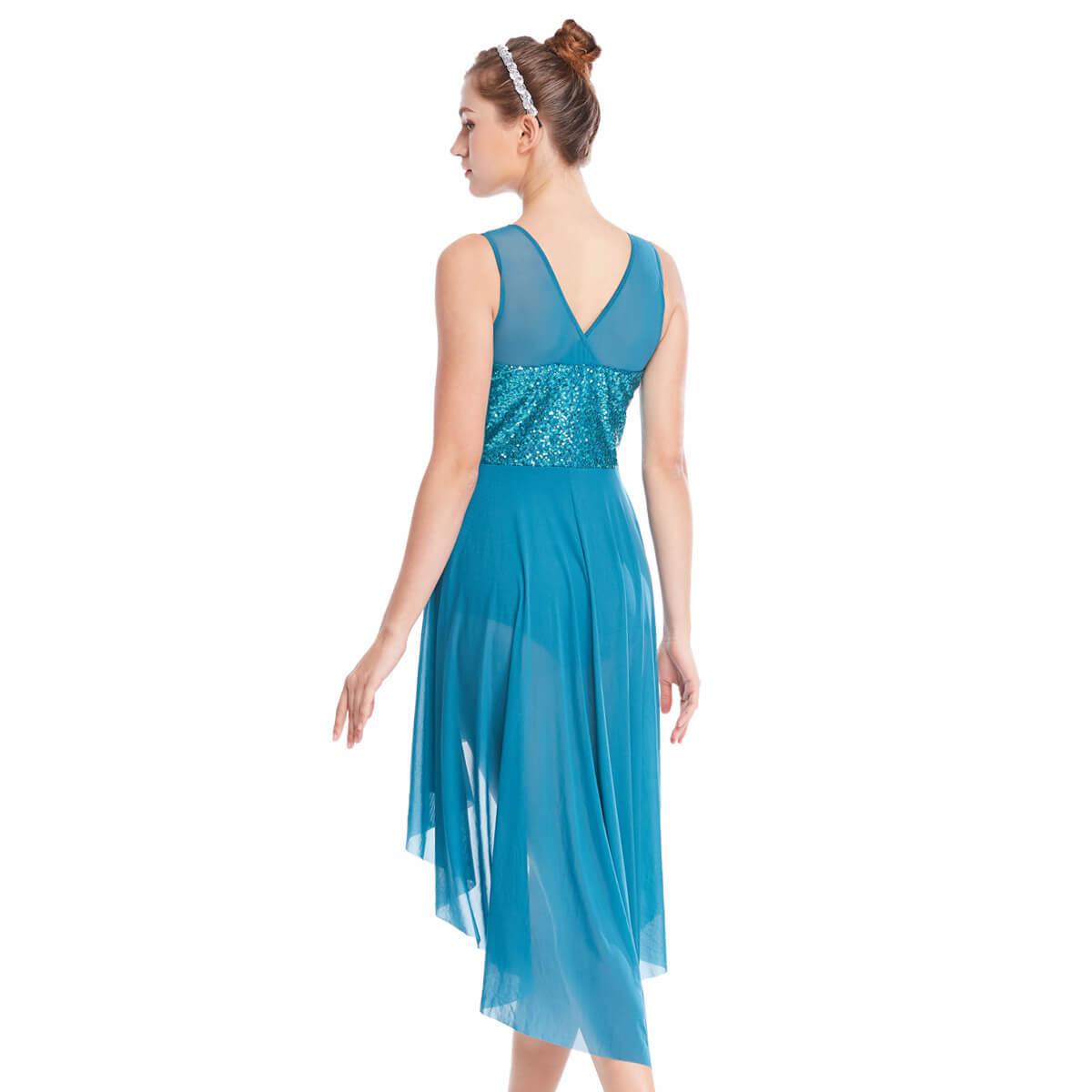 Flourish High-low Lyrical Dress with Asymmetric Full Round Spiral Cut Skirt Mesh Sequined Joints Tank Top