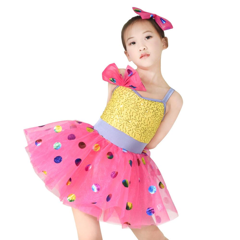 Sequins Top Colorful Foiled Bubbles Tutu Dress Girls Solo Duet Team Dance Costume Performance Dress