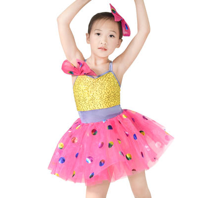 Sequins Top Colorful Foiled Bubbles Tutu Dress Girls Solo Duet Team Dance Costume Performance Dress