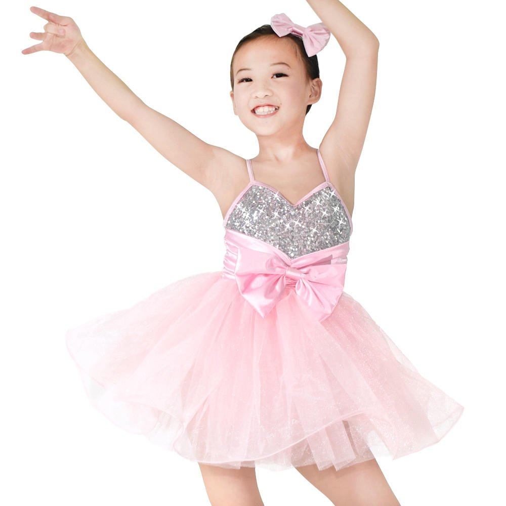 Silver Sequins Top Pink Tutu Dress Solo Duet Team Dance Costume Performance Costume for Girls