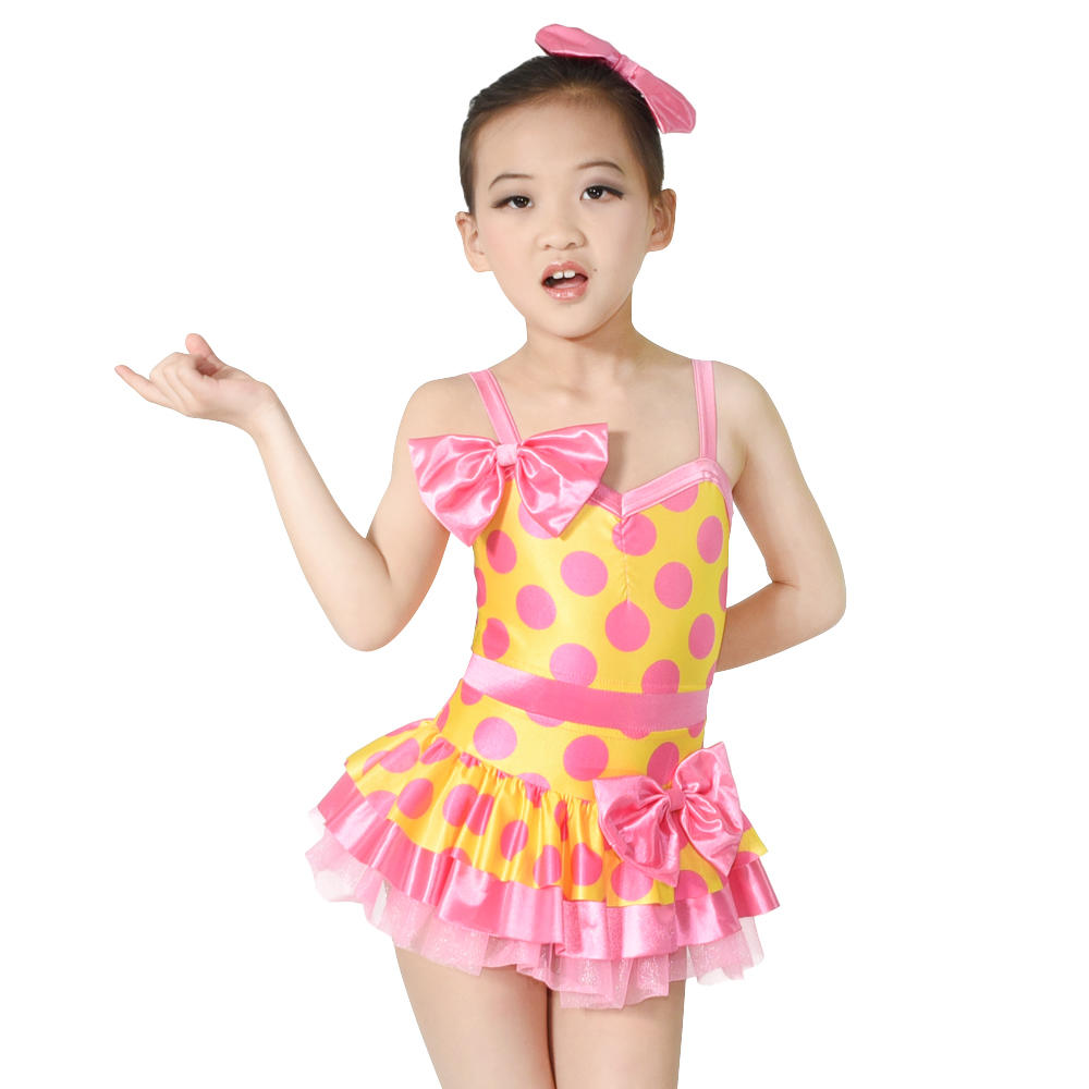 Cheerful Color Bubble Prints Lycra Jazz Costume Polka Dots Dance Dresses with Bows