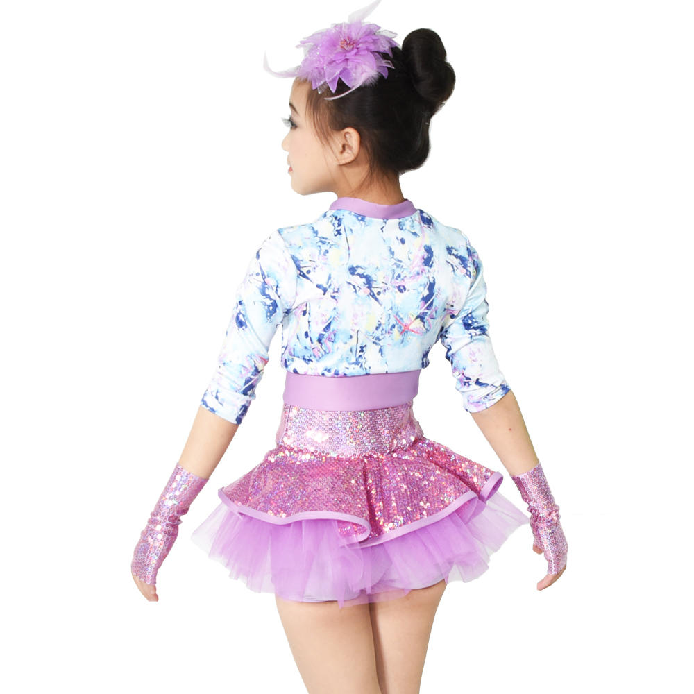 Colorful Prints Sequins Jazz Costume Dance Dresses Performance Outfits for Girls