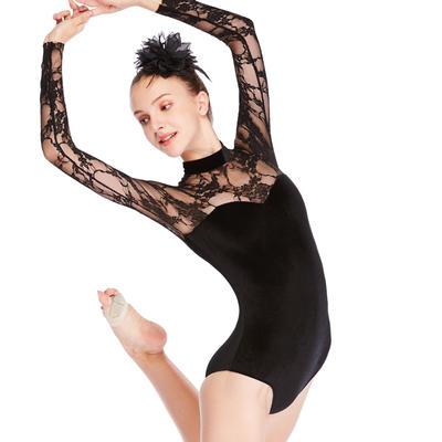 Ballet Leotard Long Sleeves Lace Joints Velvet Dance Costume Performance Wear