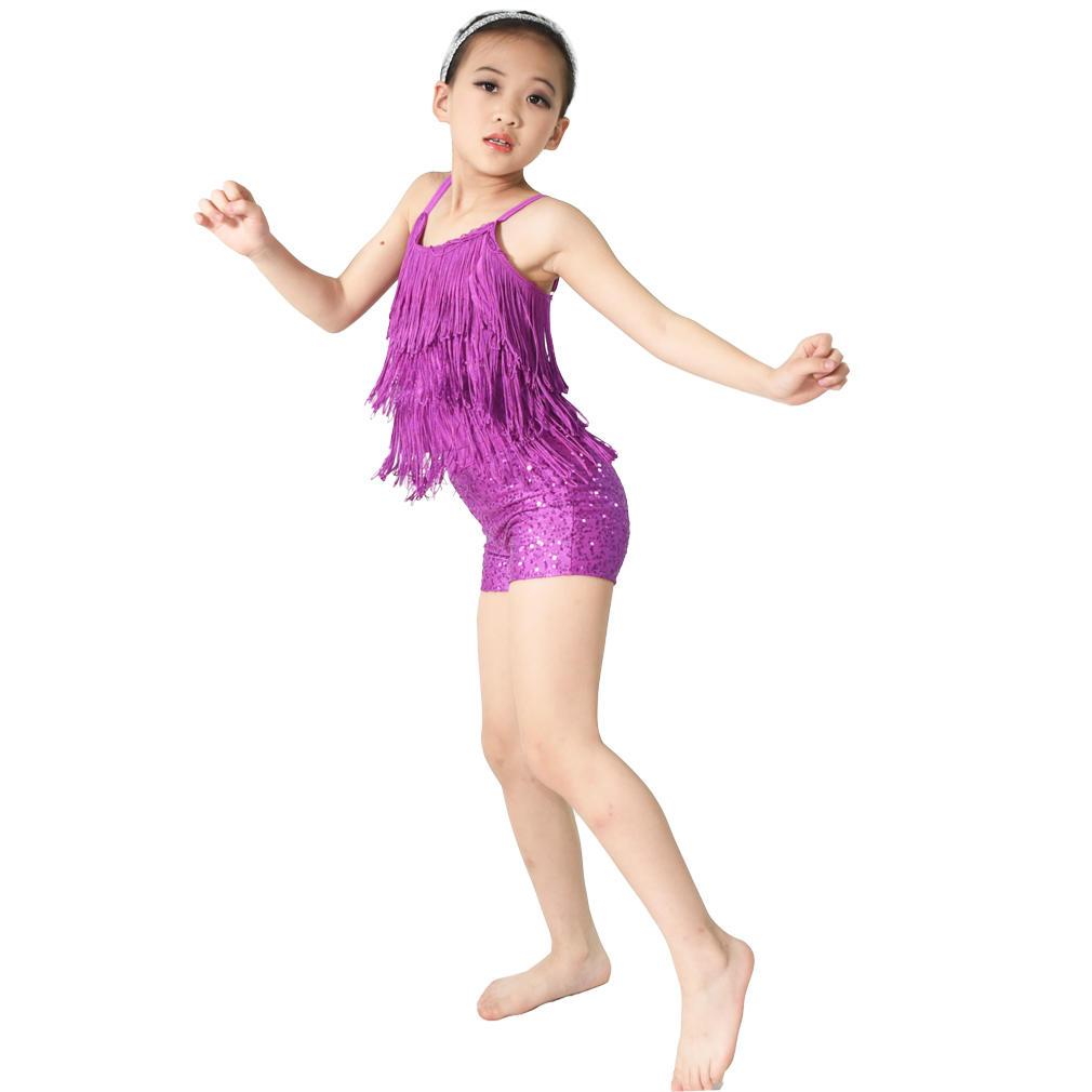 MiDee Tap Jazz Costume Dance Performance Wear Fringe Top Sequins Shorts
