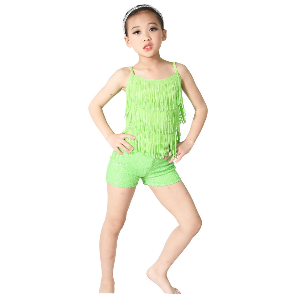 MiDee Tap Jazz Costume Dance Performance Wear Fringe Top Sequins Shorts