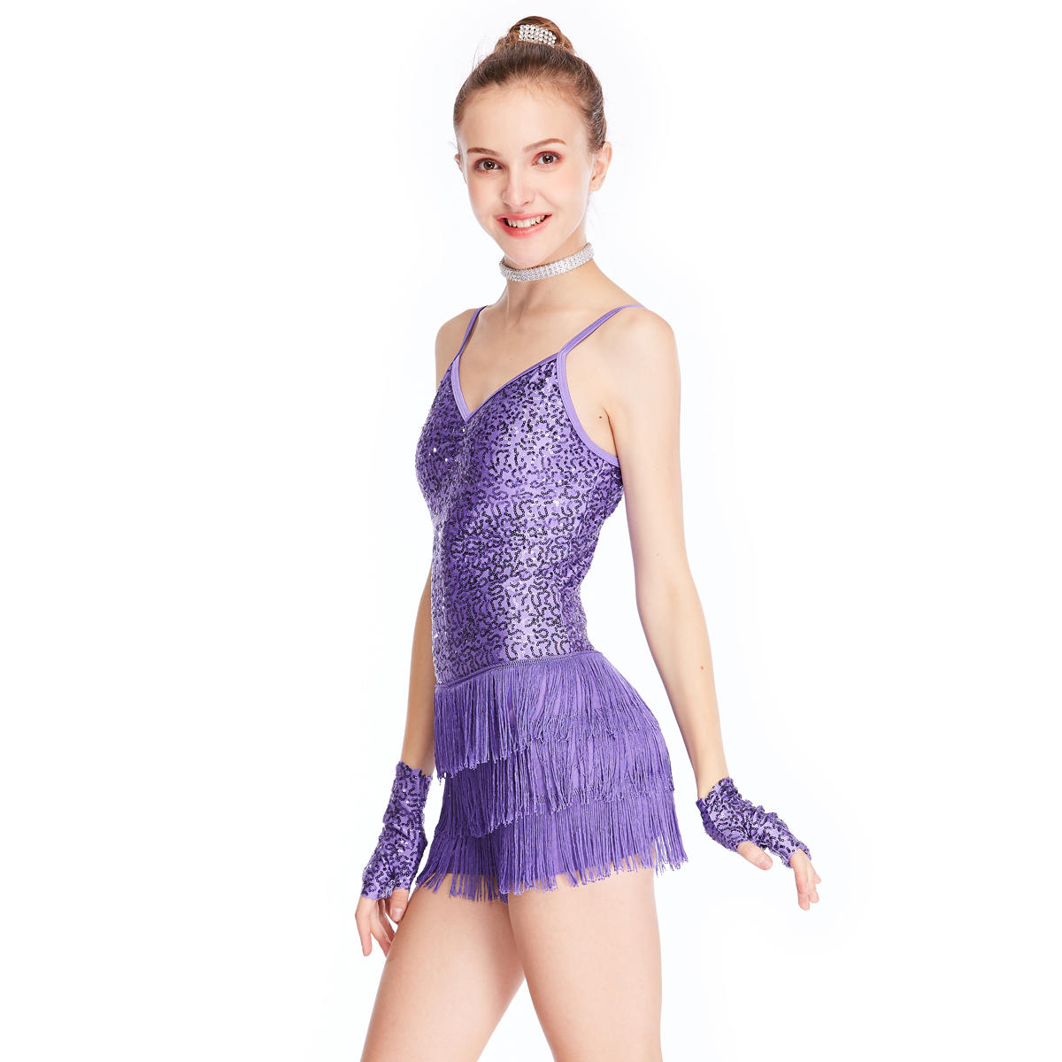Cheerful Tap Jazz Costume Dress Dance Performance Wear Sequins Top Fringes Skirt