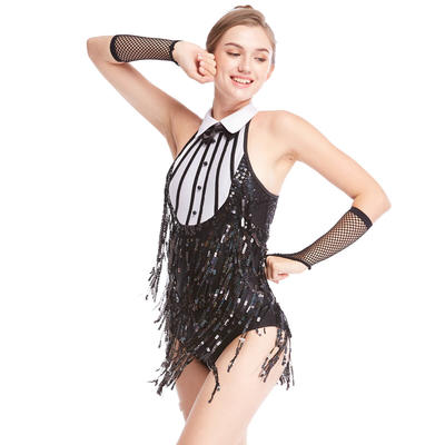 MiDee 2019 Tap Jazz Costume Dress Dance Performance Wear Sequined Fringed Black White Contrasting Bow Tie
