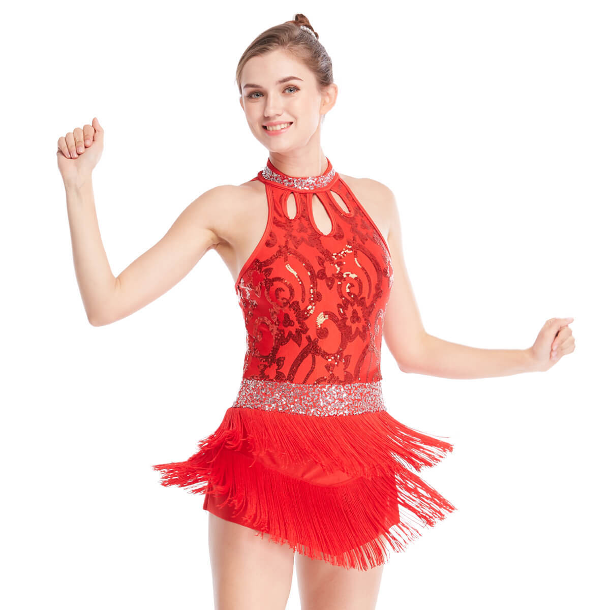 Tap Jazz Costume Dress Dance Performance Wear Floral Sequined Top Mock Neck Fringes Dress