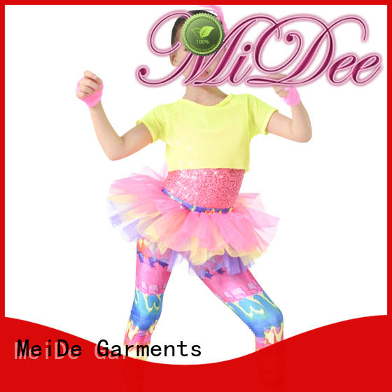 Colorful Dance Costume Girls Skirt Pants Fishnet Tank Sequins Leotard Performance Outfits
