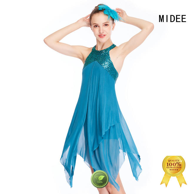 MIDEE OEM girls lyrical costume vneck competition