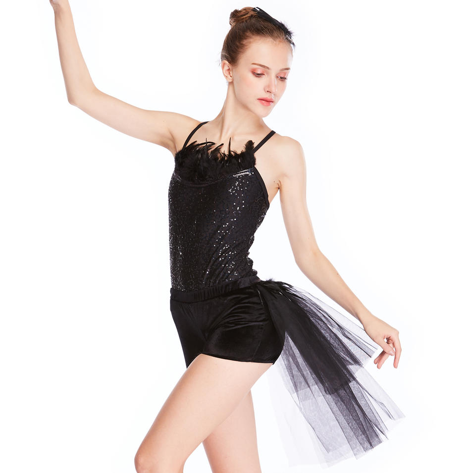 MiDee Black Swan Tutu Dress Feather Sequins Leotard Ballet Tutus Modern Dance Wear China