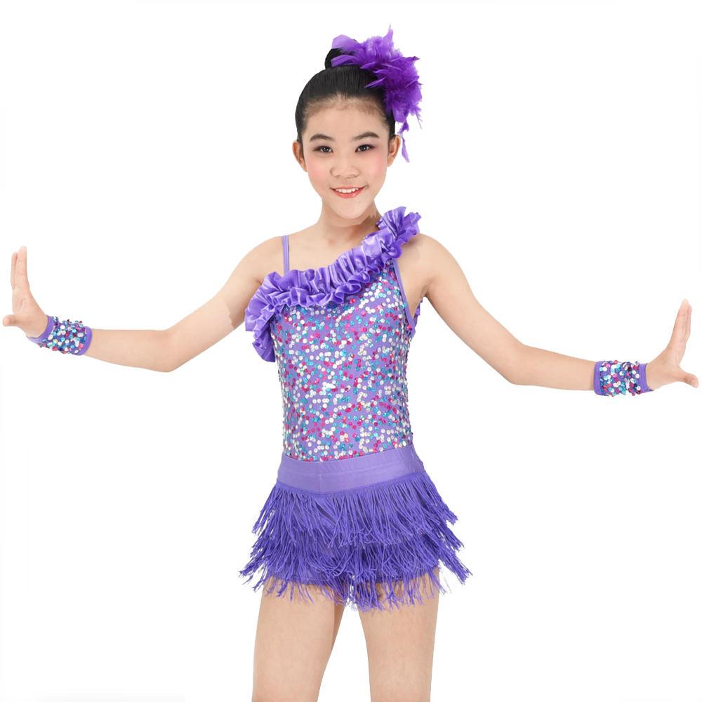 MiDee  Jazz Girl Latin Dance Dress  Skating Sequins Performance Costume