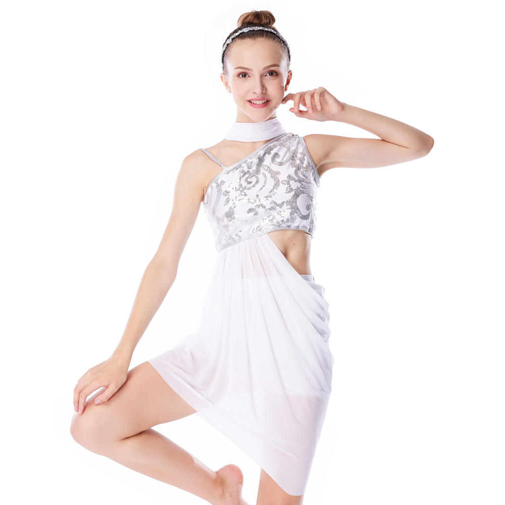 MiDee Sparkling Sequin Lyrical Dress Stage Costume Dance Dress For Girls