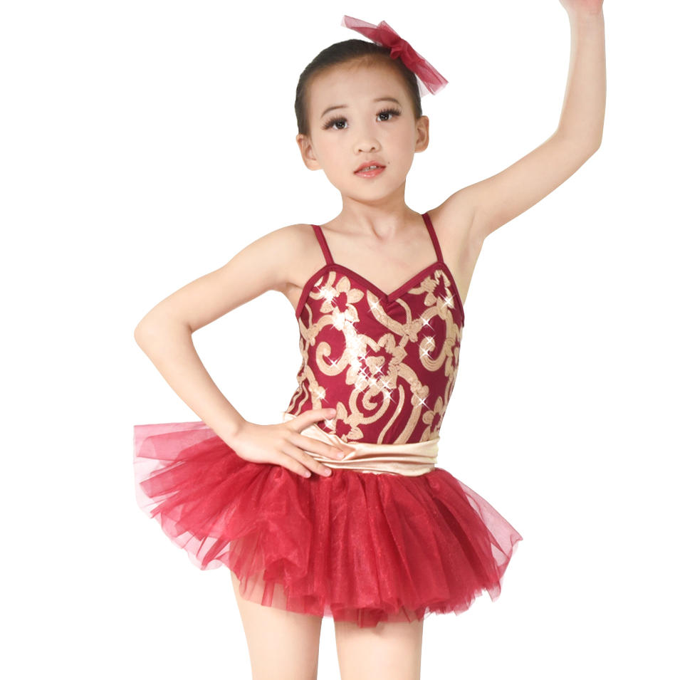 MiDee Sequined Tired Curly Hem Pleated Skirt Ballet Dress Dance Costume