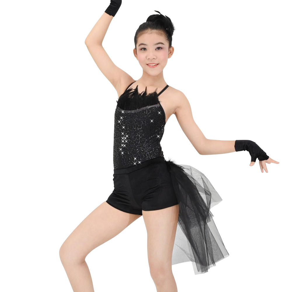 MiDee Elegant Modern Sequins Leotard Swan Ballet Costume Black Dance Dresses For Girls