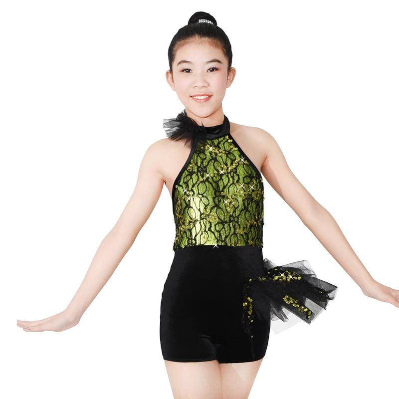 MiDee La Girl Jazz  Halter Neck Lace Sequined  Dance Costumes