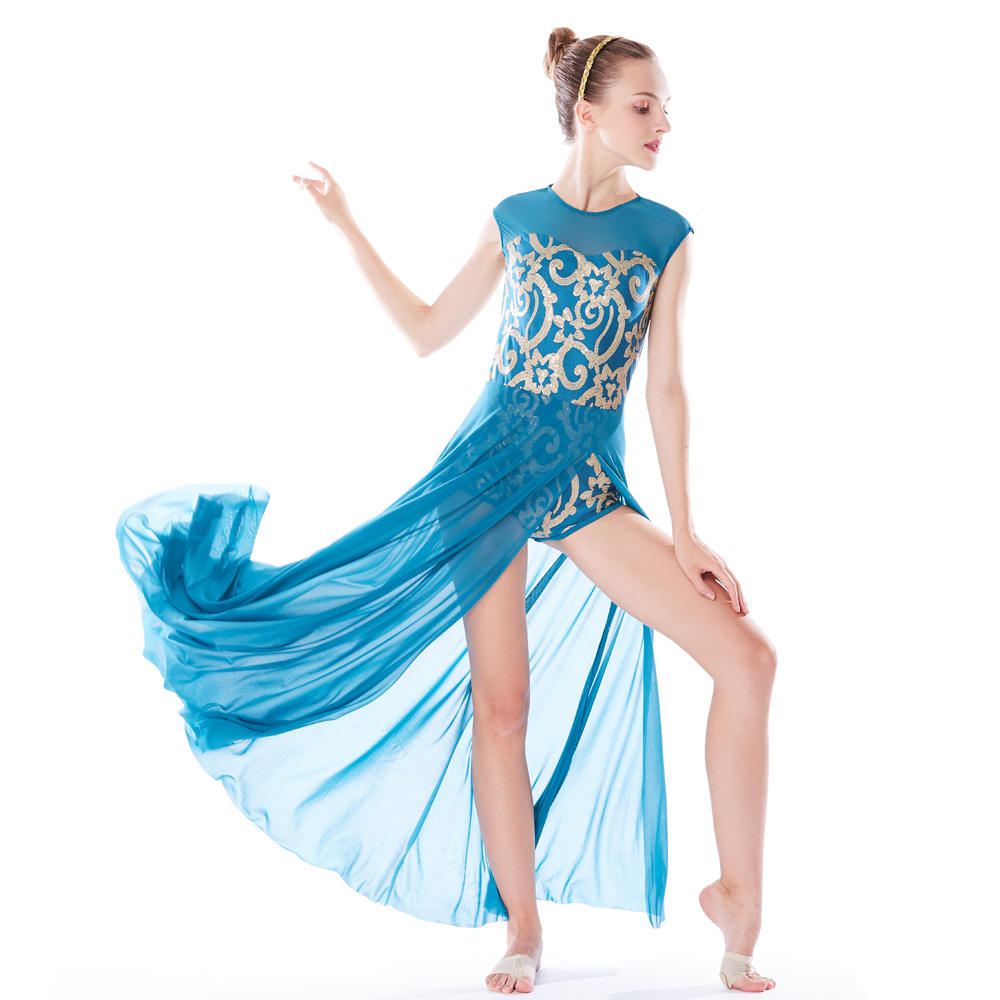 MiDee Elegant Lyrical Floral Sequins Dance Dress Modern Ballet Wear Chinese Dance Costume