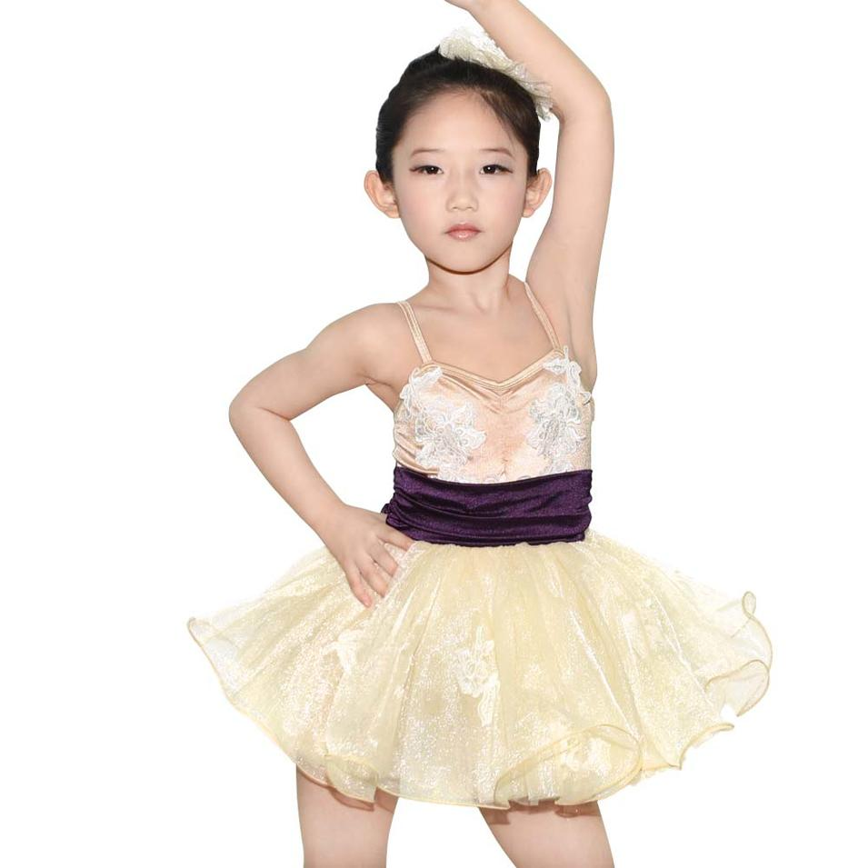 Girls Party Dresses Classical Champagne Swan Lake Ballet Tutu Dance Costumes