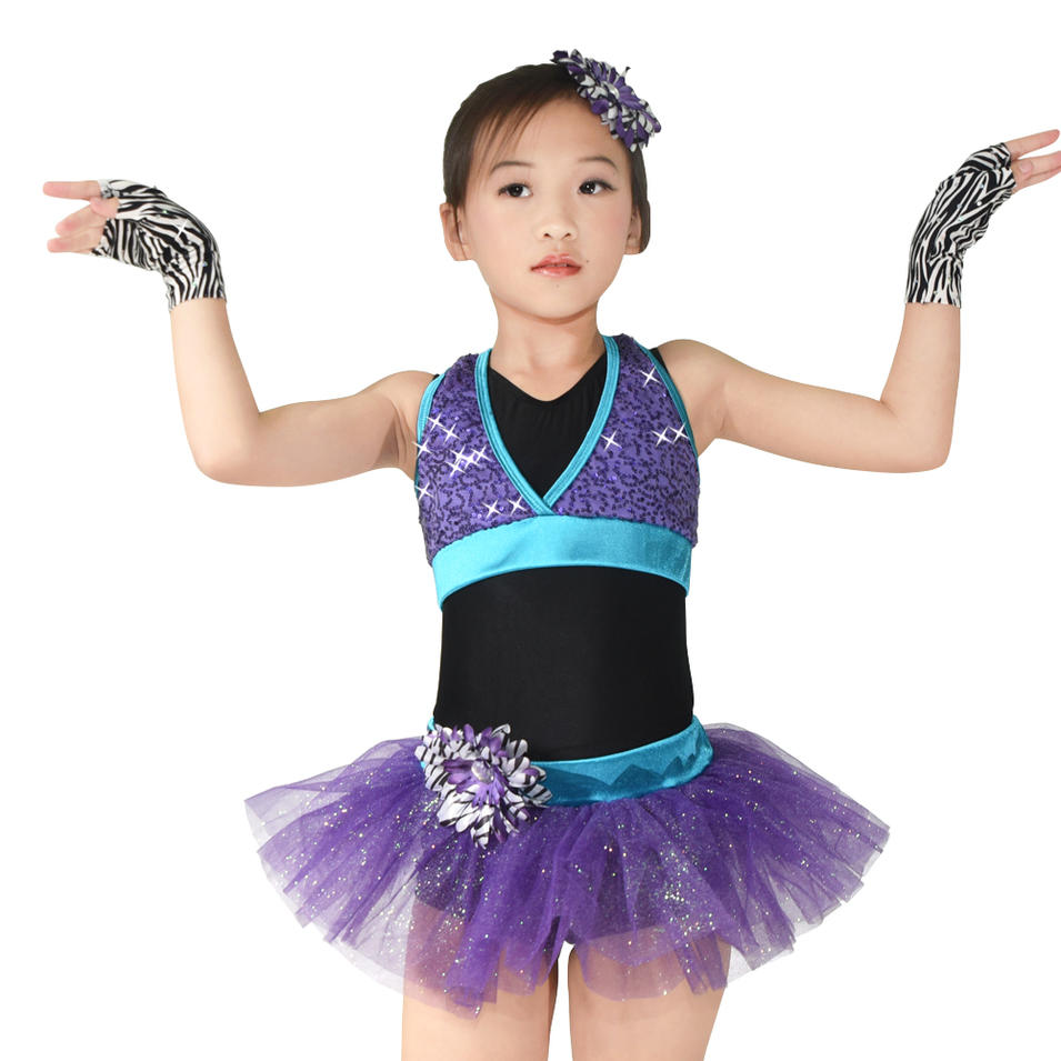 MiDee Jazz Dance Costumes Tulle Tutu Skirt Girl Performance 3 Pieces Outfit