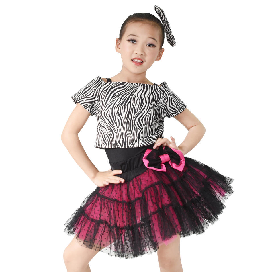 MiDee Zebra Black Leotard  Evening Dresses Dance Costume For Girls