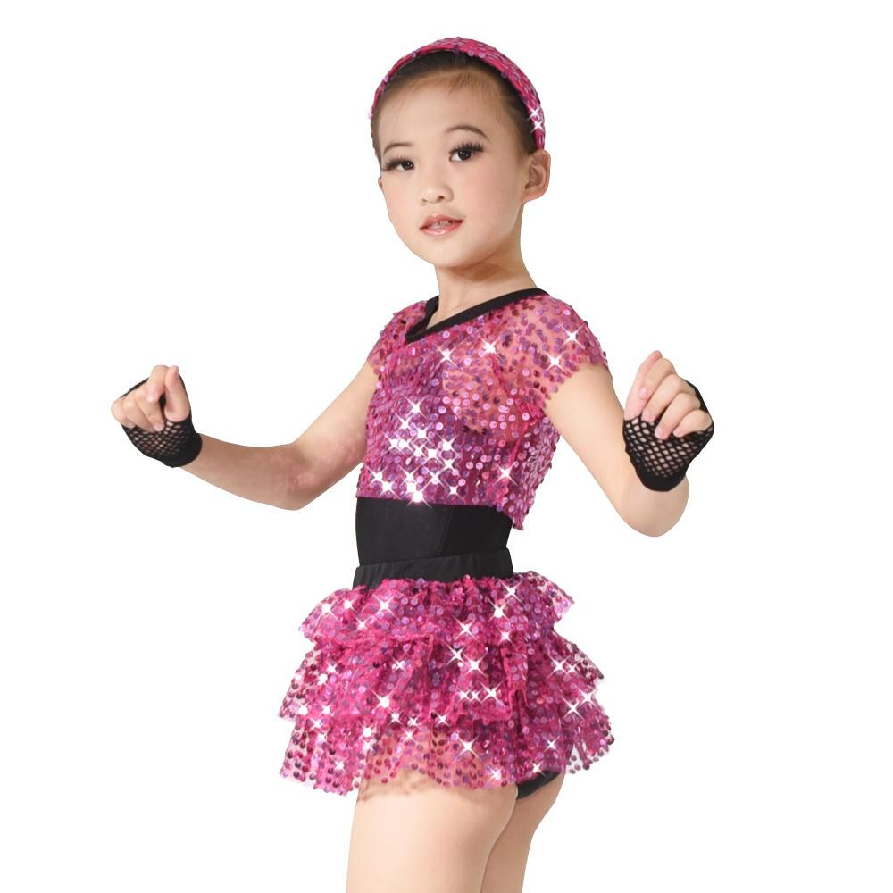 MiDee Stage Hip-Hop Leotard Sequin Top & Skirt Dress Girl Dance Costume