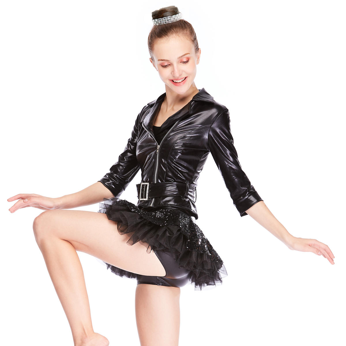 MiDee Jazz Costumes Foiled Jacket Tires Sequins Dresses Cool Dress Performance Wear