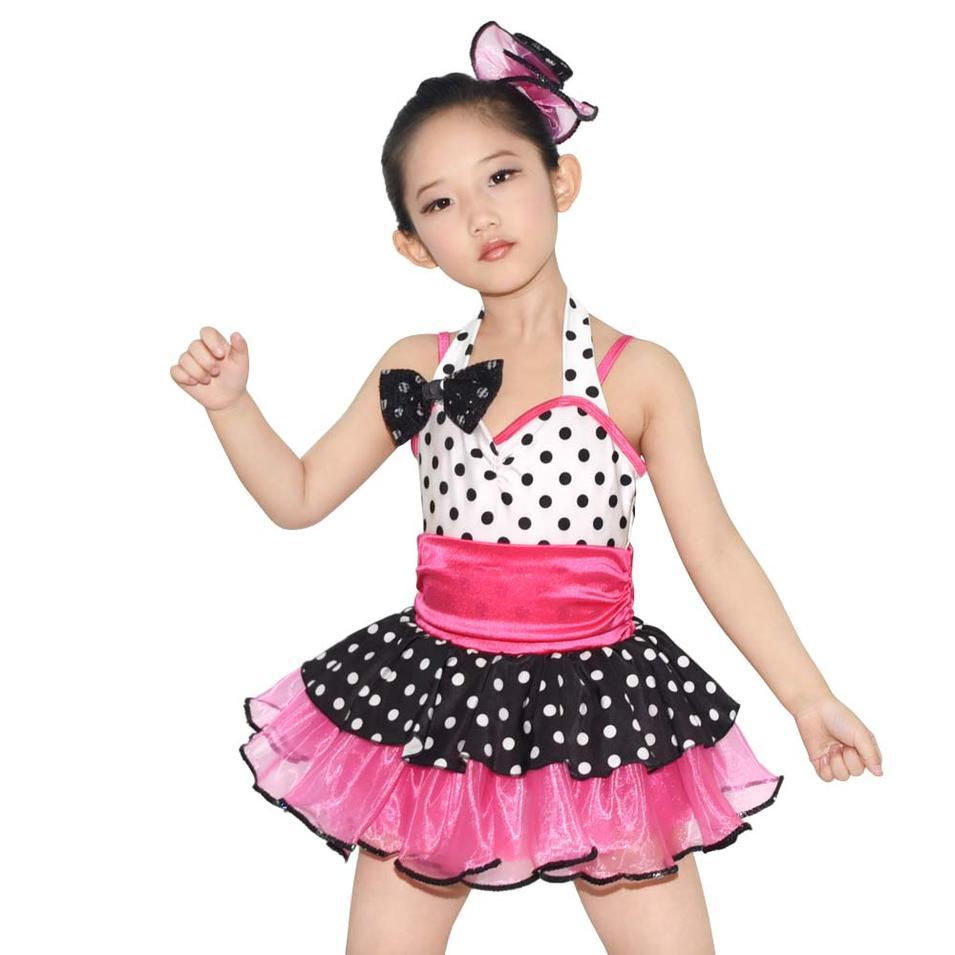 MiDee Multicolor Dots Lyrical Ballet Girls Dance Dress Leotard Costume
