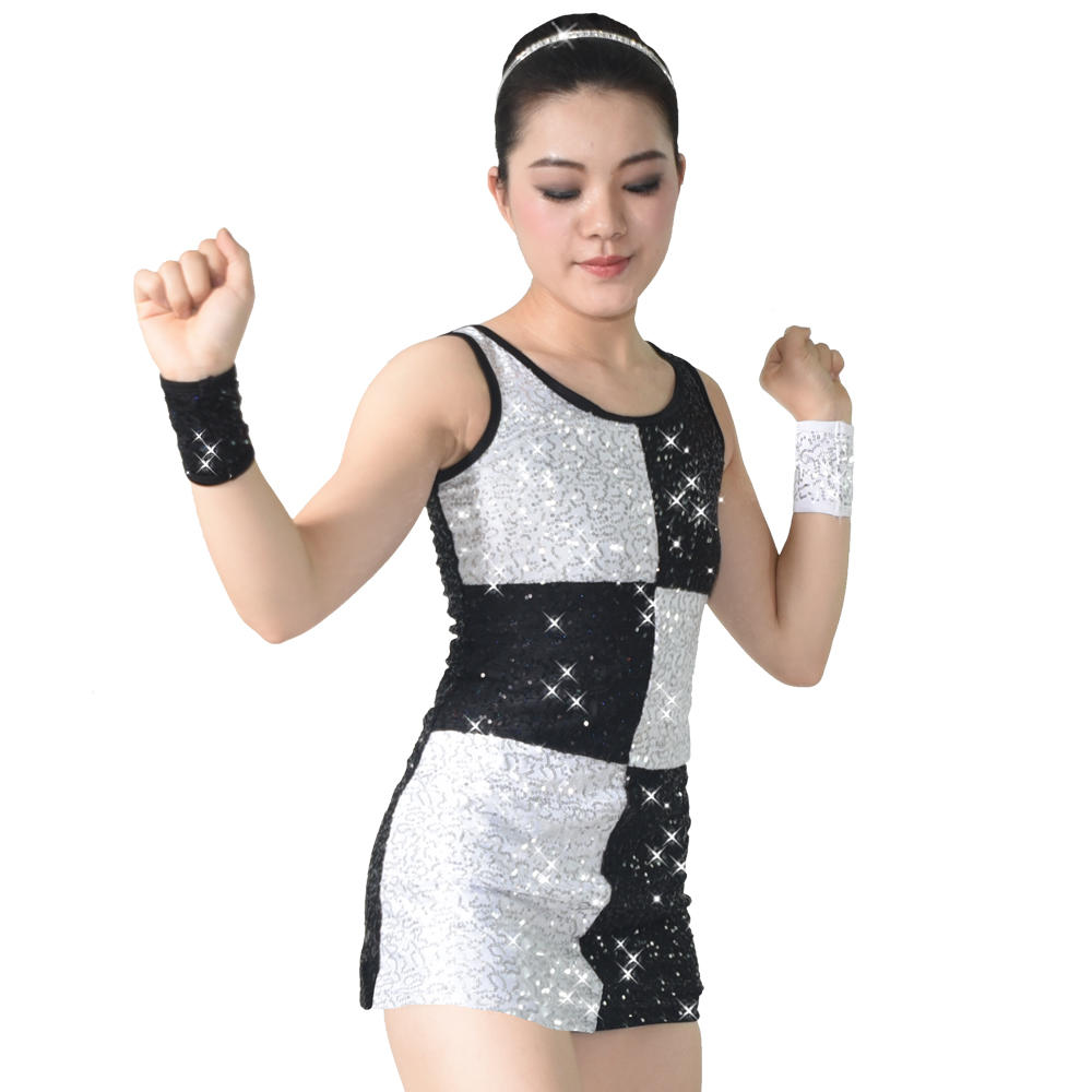 MiDee Full Sequins Western Dance Dress Straight Tube Costume Dance Jazz Dress For Girls
