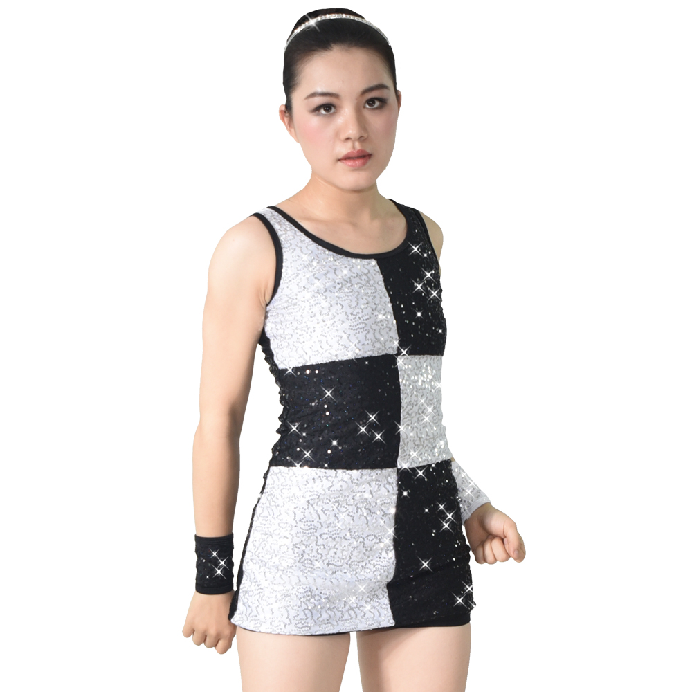 MiDee Asymmetrical Sequined Feather Hip Hop Dance Clothes Costume