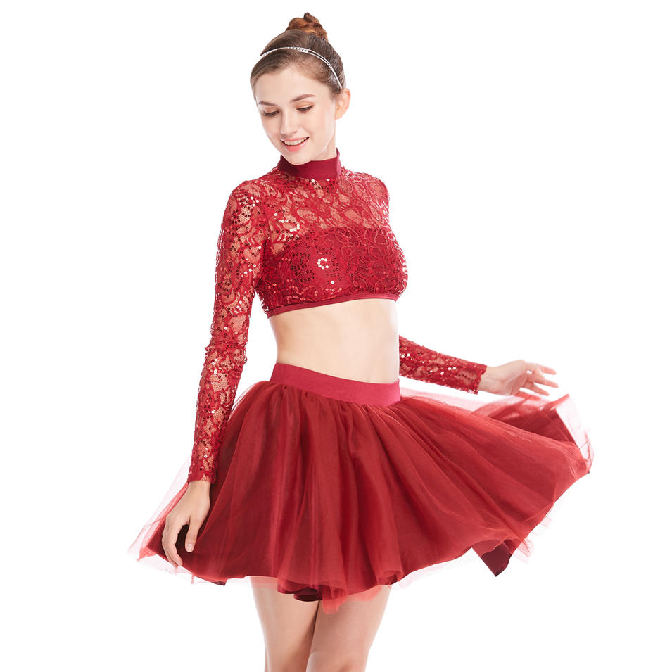 MiDee Dance Costume Sequined Lace Long Sleeves Dance Outfits Dress 2 Pieces