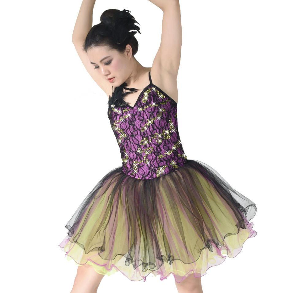 MiDee Sequins Long Ballet Tutu Braces Skirt Banquet Party Dresses For Girls Dance Costumes