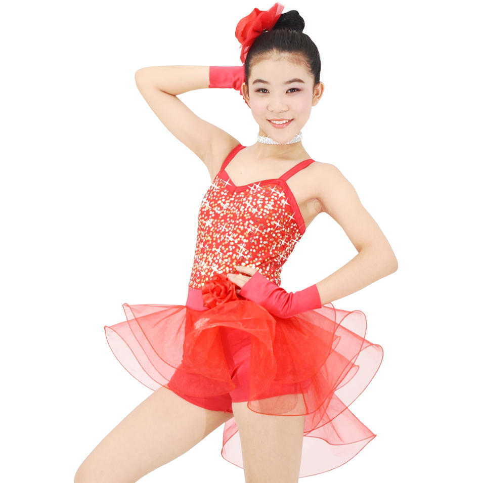 Sequins Tires Dress High-Low for Girls Ballet Jazz Solo Duet Trio Dance Performance Costume