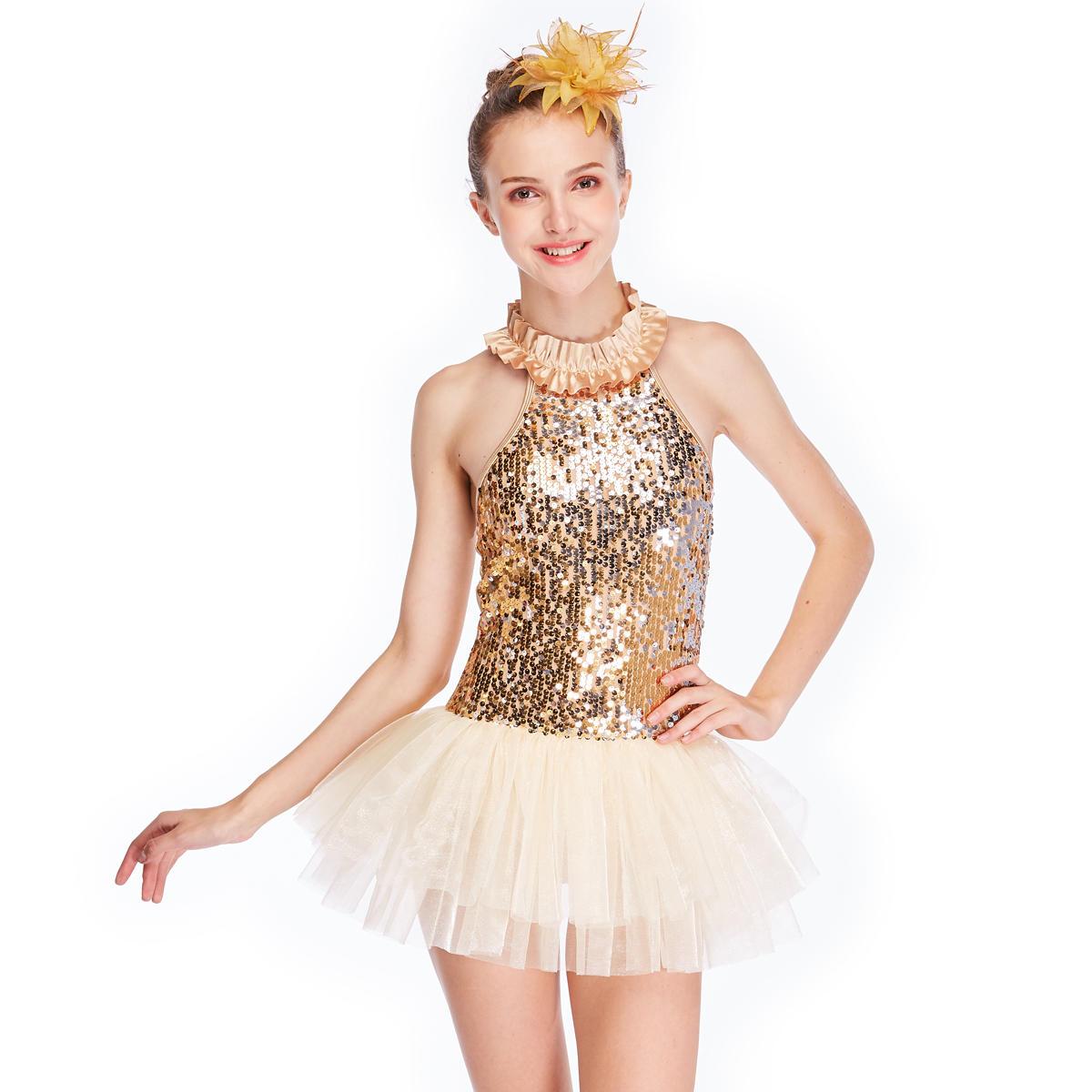 MiDee Tutu  Floral Neckline Sequined Ballet Dance Leotard Dance Costume