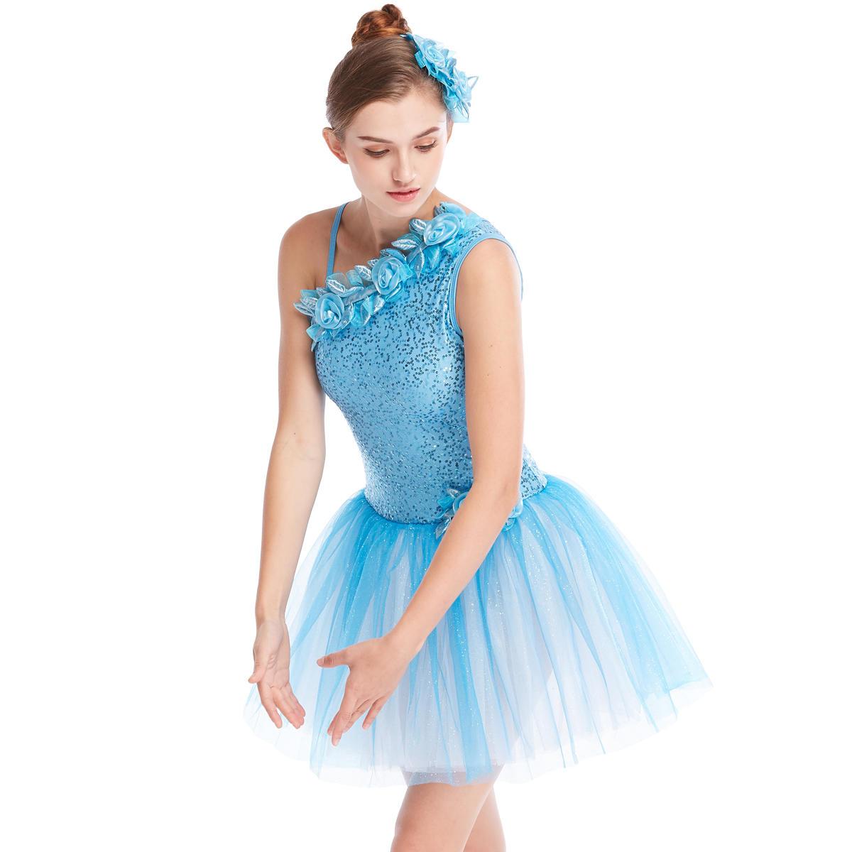 MiDee Tutu  One-Shoulder Floral Neckline Sequined Ballet Dance Leotard Dance Costume