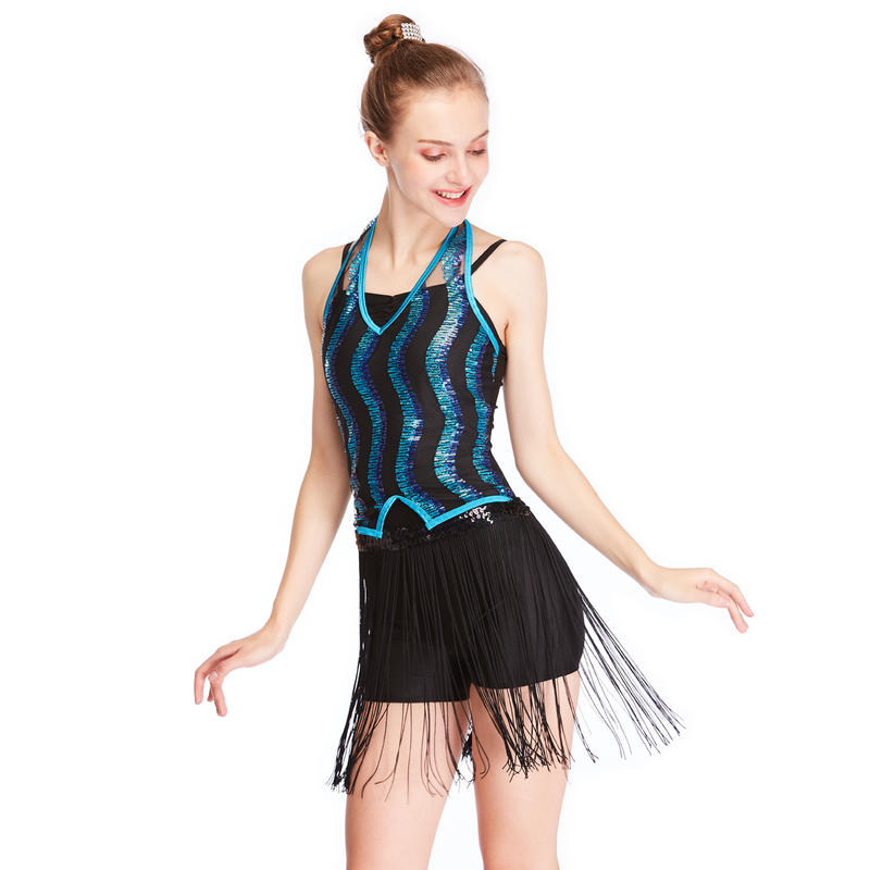MiDee Latin Costume Dance Outfit Ballroom Dress 2 Pieces Sequin Tassels Skirt For Girls