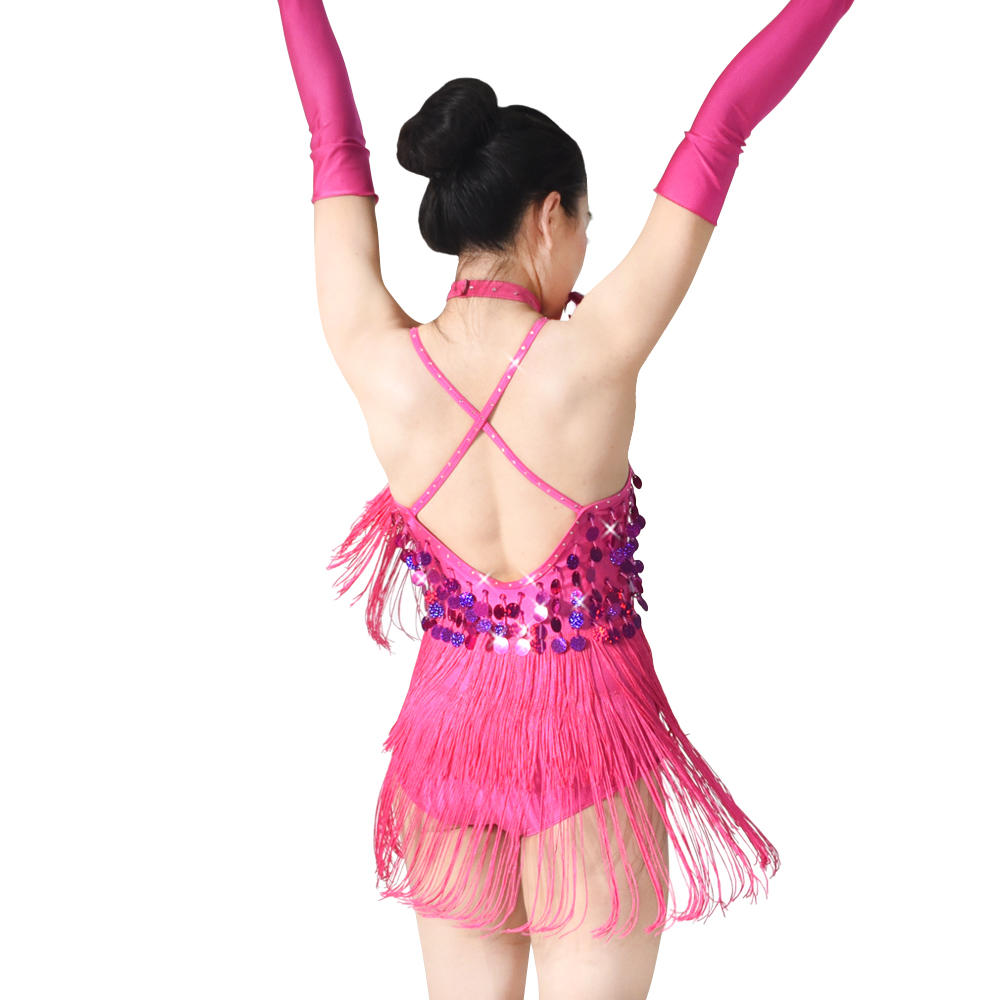 MiDee Girls Low Back Brace Skirt Sequins And Tassels For Latin Samba Salsa Dance Dress