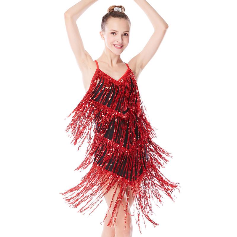 MiDee Sequins Sexy Rumba Latin Dance Dress Costumes
