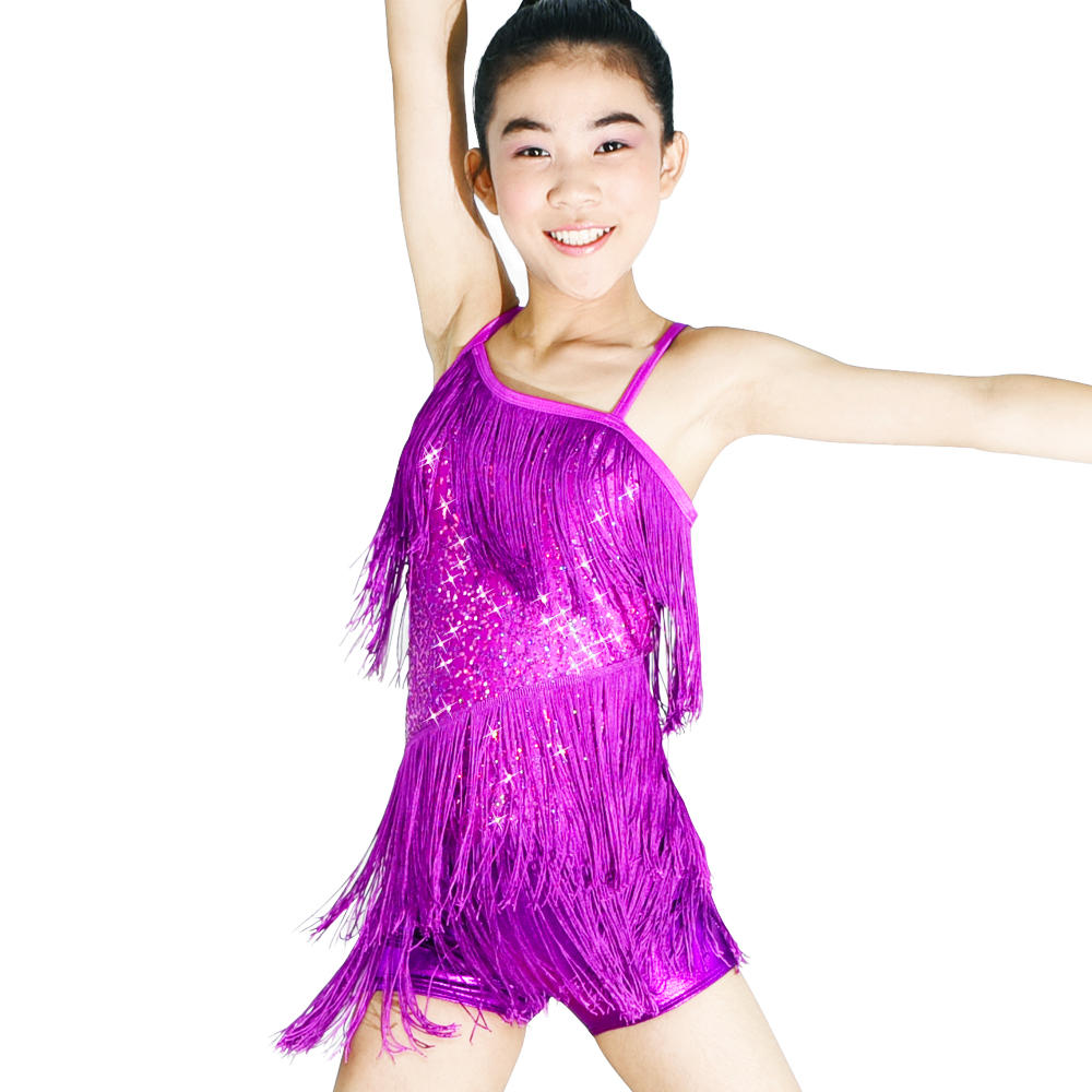 MiDee Elegant Leotard Fringe Latin Dance Dress Skating Performance Costumes For Girls