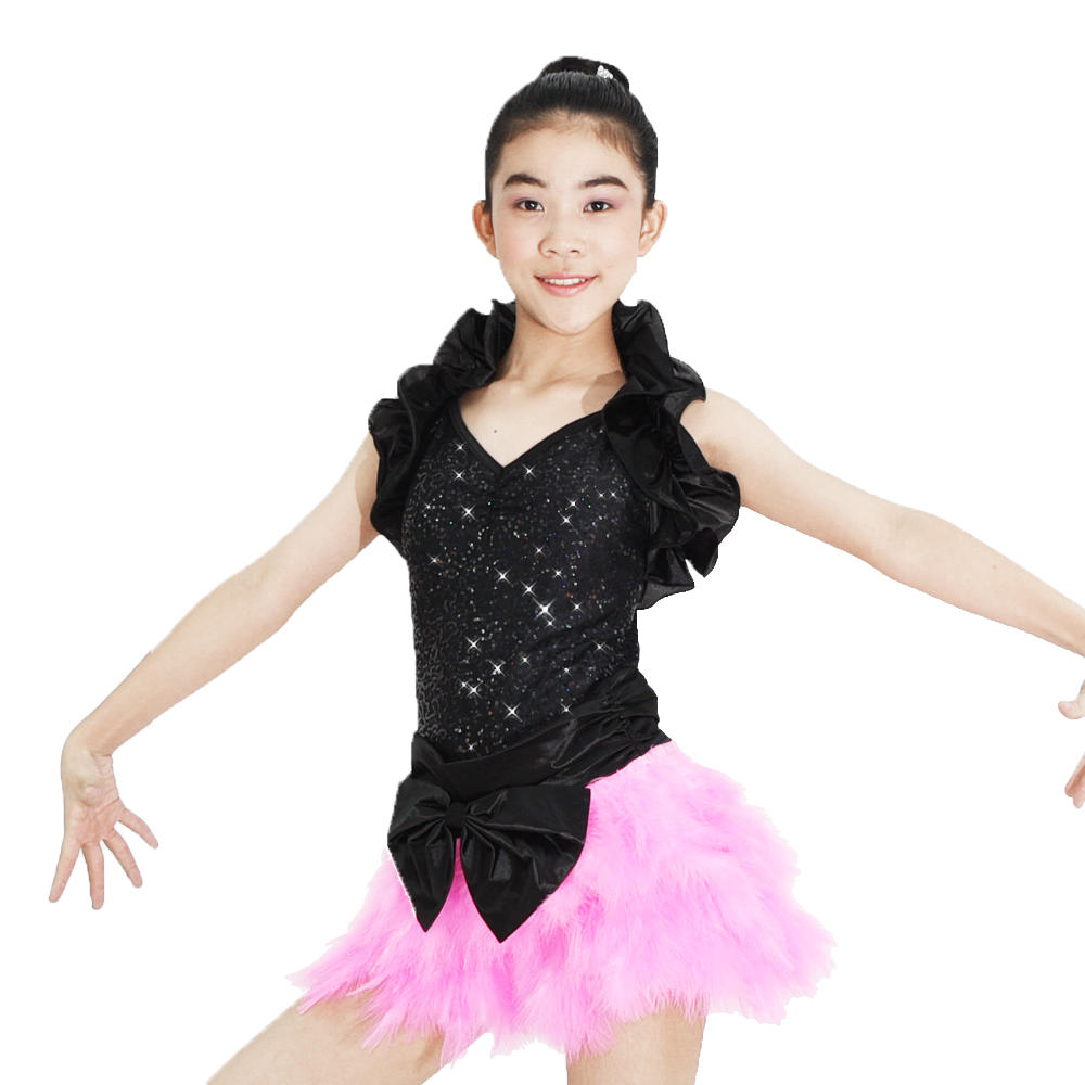 MiDee Ruffle Shrug Sequin Dance Costume With Festhers Jazz Party Dress Rock Tap Costume