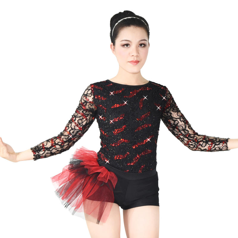 Long Sleeves Sequined-Lace Jazz Costumes Stage Performance Competition Wear Dance Outfits