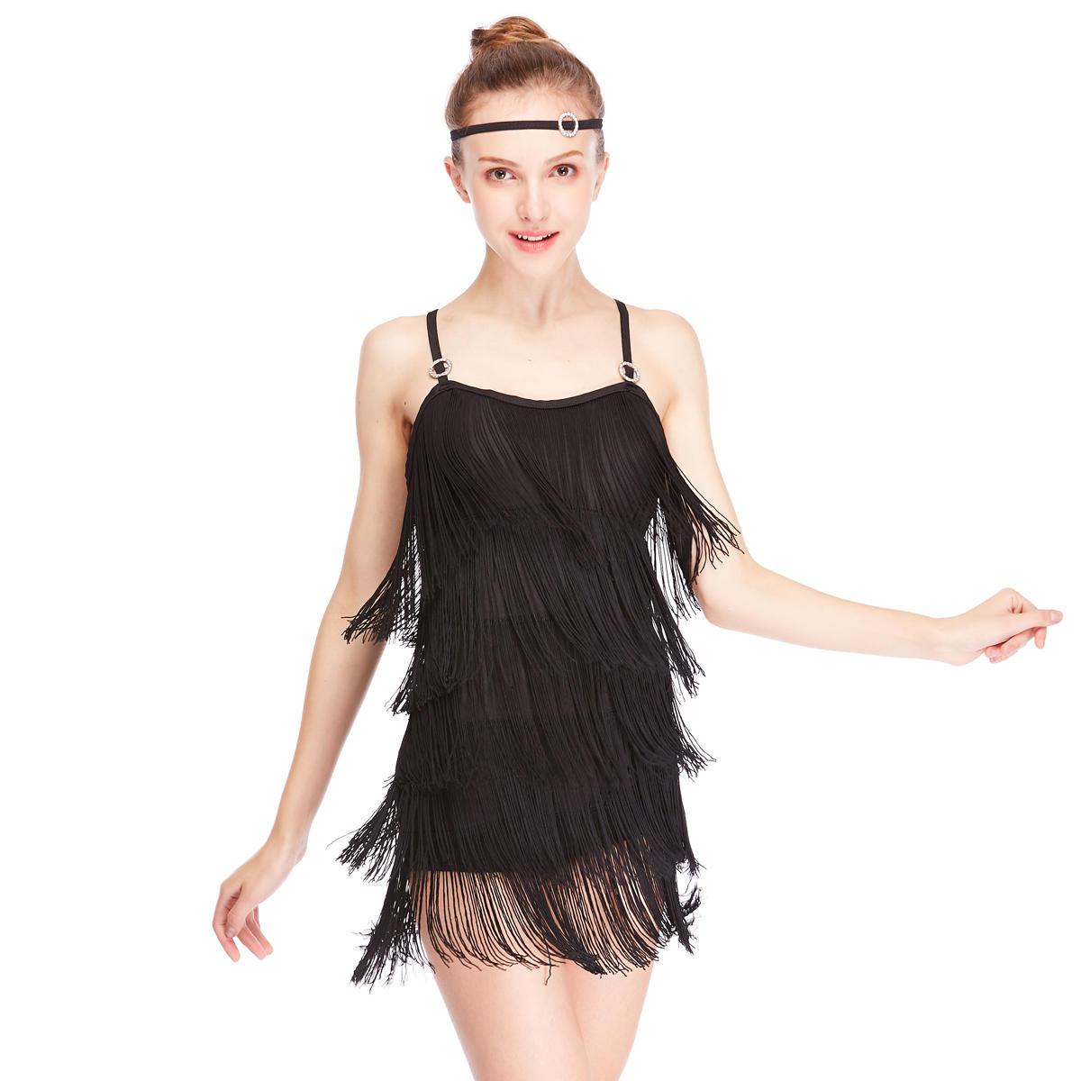 MiDee Jazz Fringe Camisole Dance Dress For Latin Salsa Rumba Dance Dress