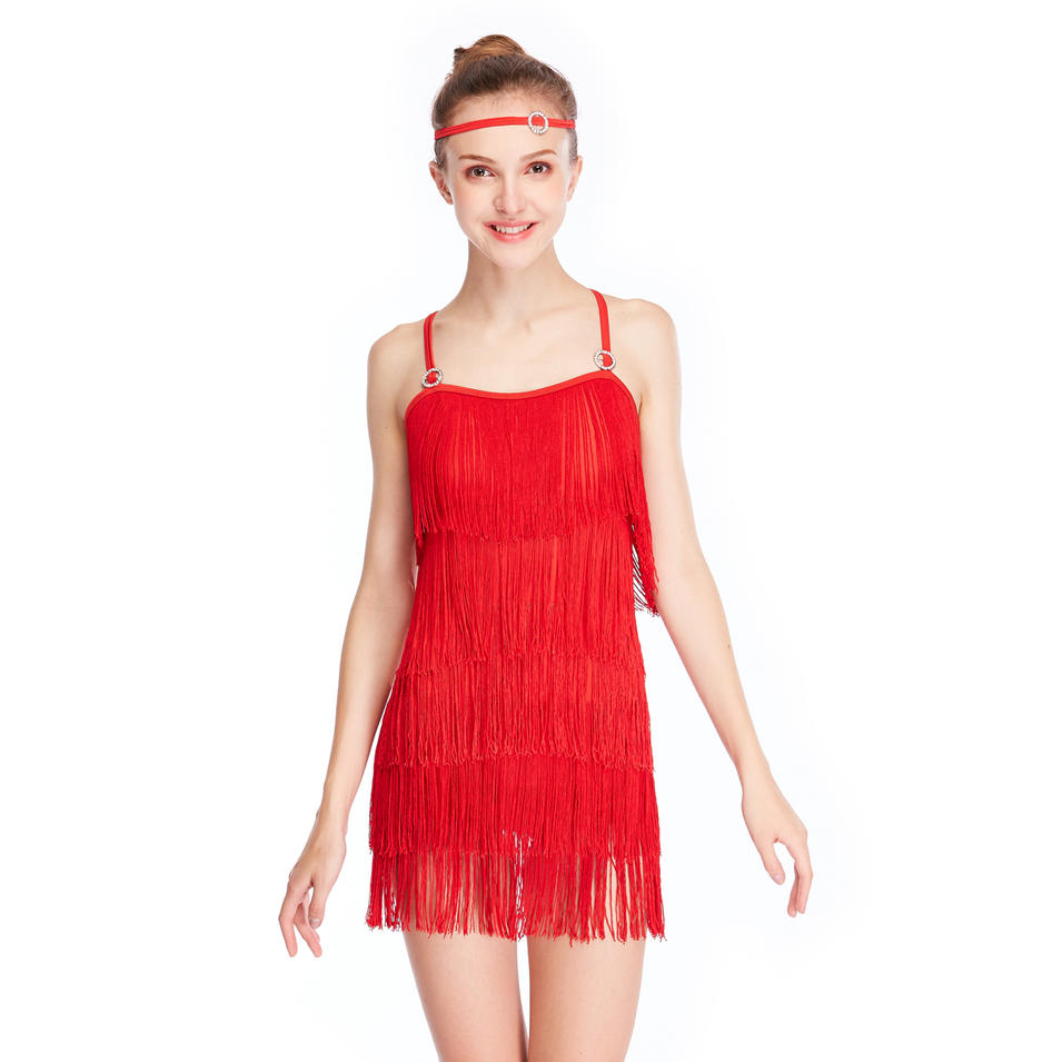 MiDee Jazz Fringe Camisole Dance Dress For Latin Salsa Rumba Dance Dress