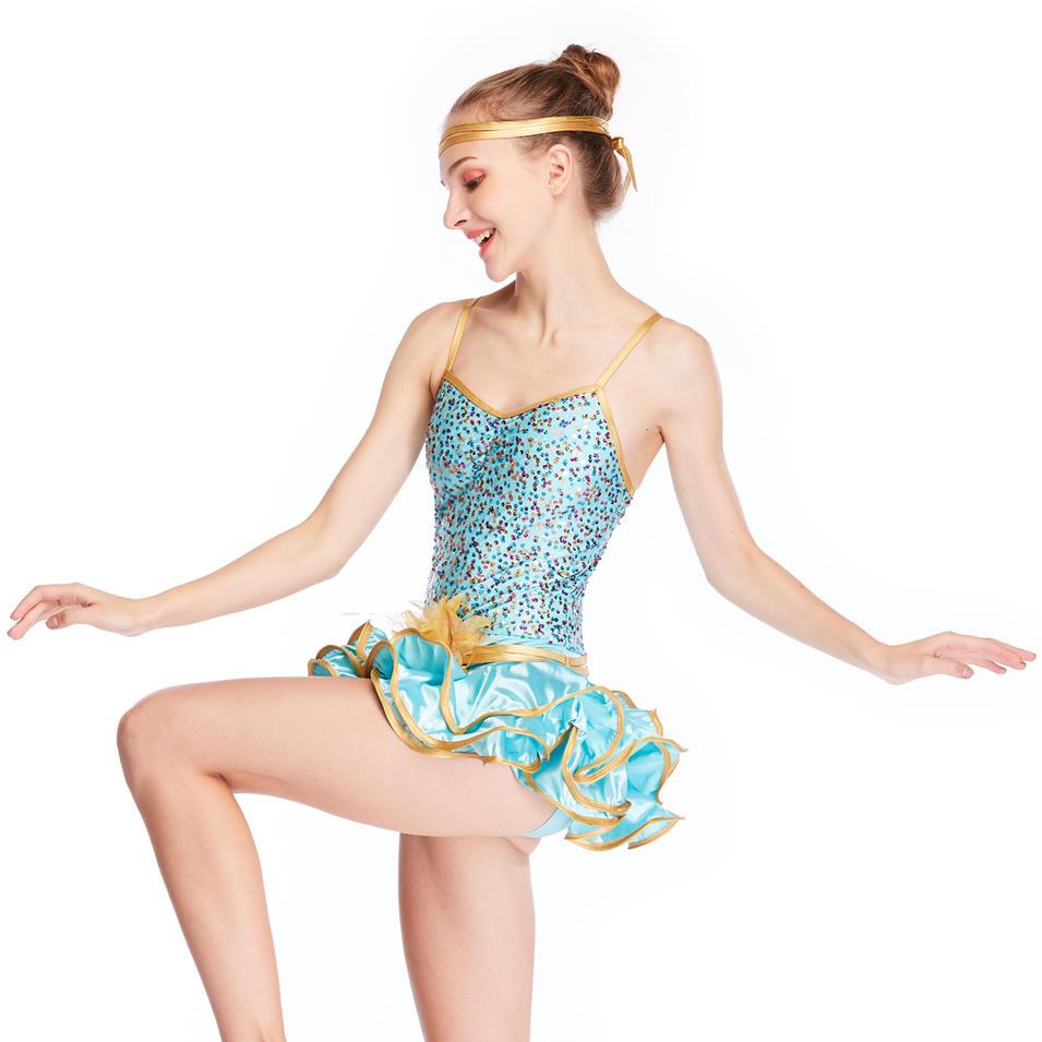 MiDee Jazz Costume Emerald Jazz Dancing Costume Dress