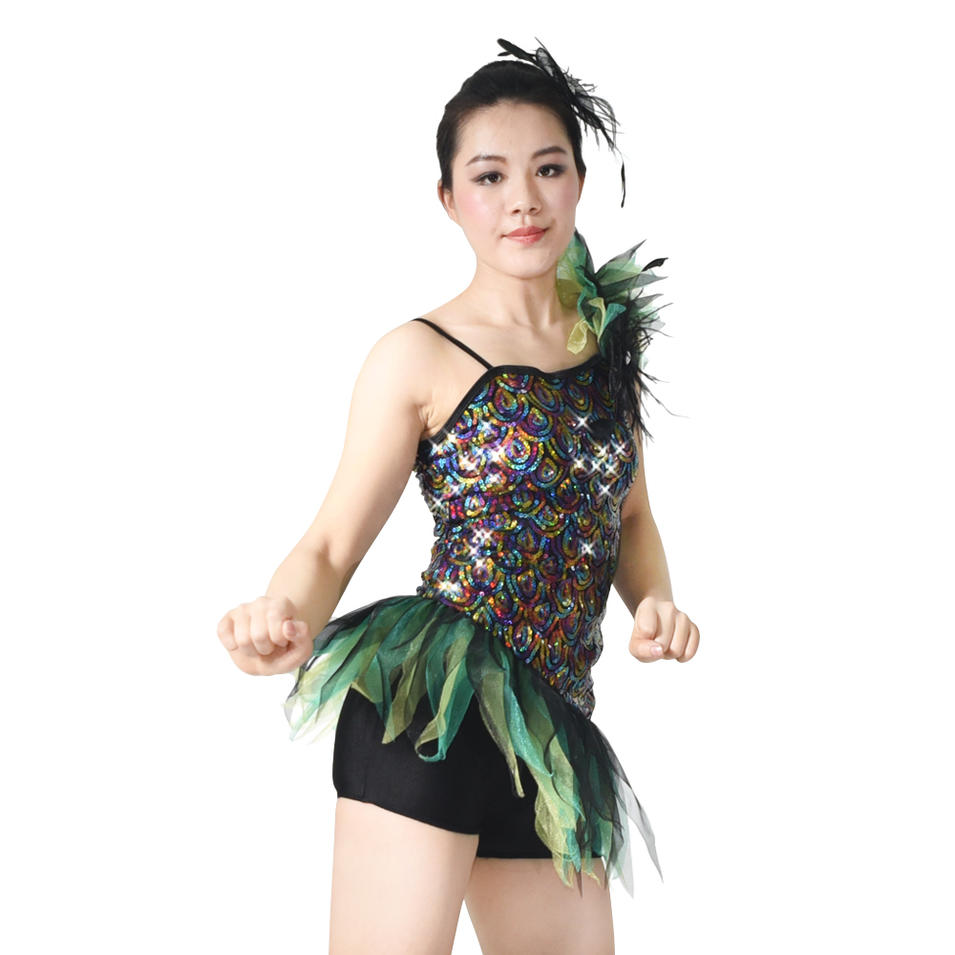 MiDee Pavonine Sequin Biketard Dance Costume Jazz Clothing For Women