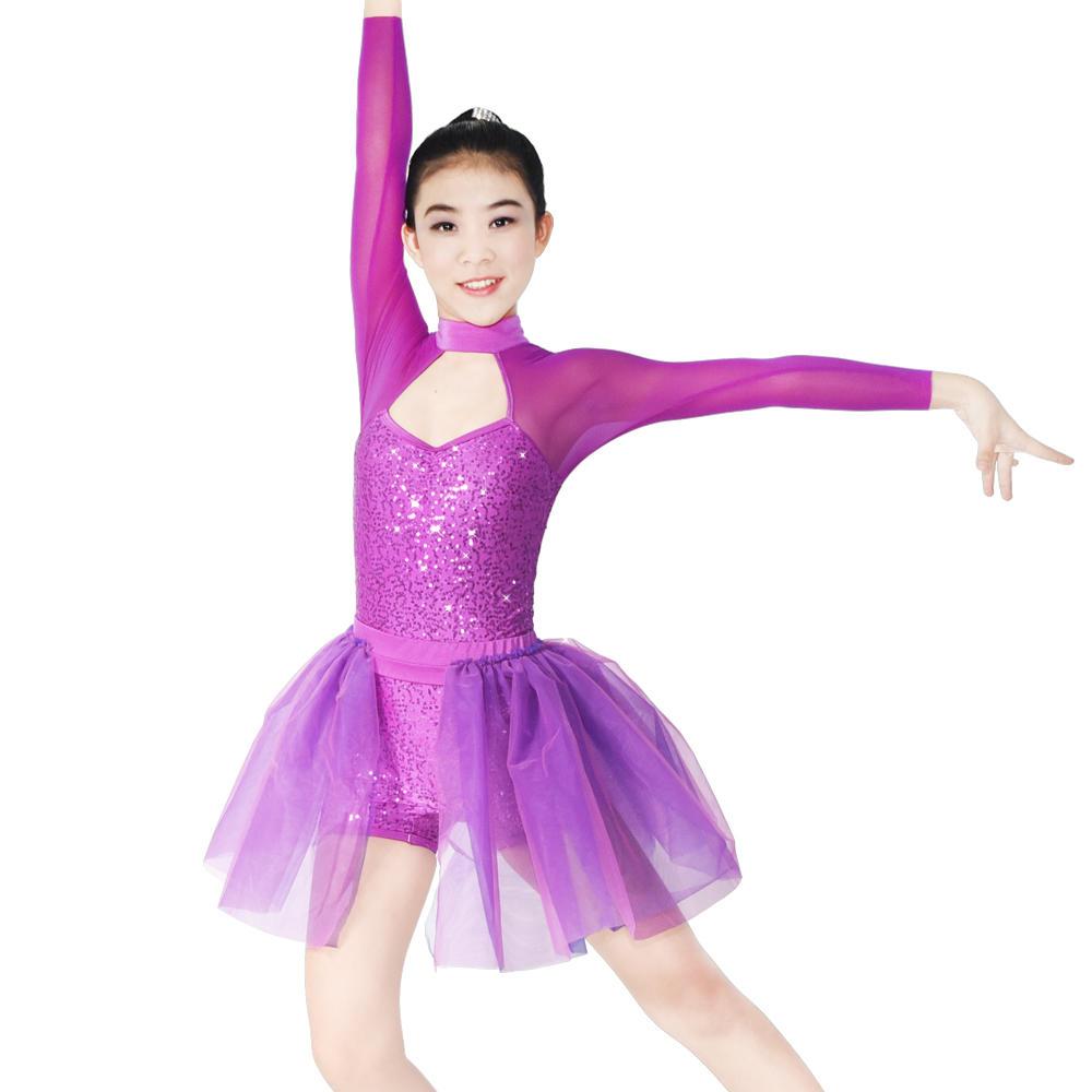 MiDee Sequin Leotard High Collar Long Sleeve Party Ballet Dance Dress