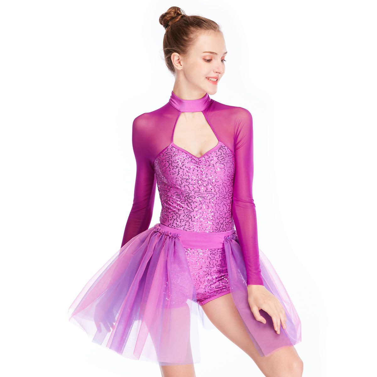 MiDee Sequins Dance Costumes Contemporary Costume Biketard Competition Clothing Performance Wear