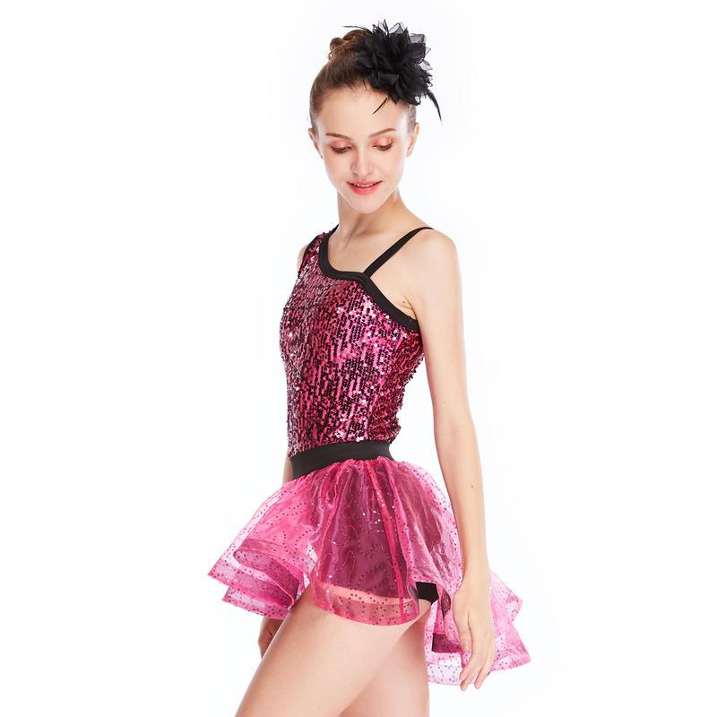MiDee Sequins Ballet Tutu Dance Dress Stage Performance Costumes Lyrical Dance Dress