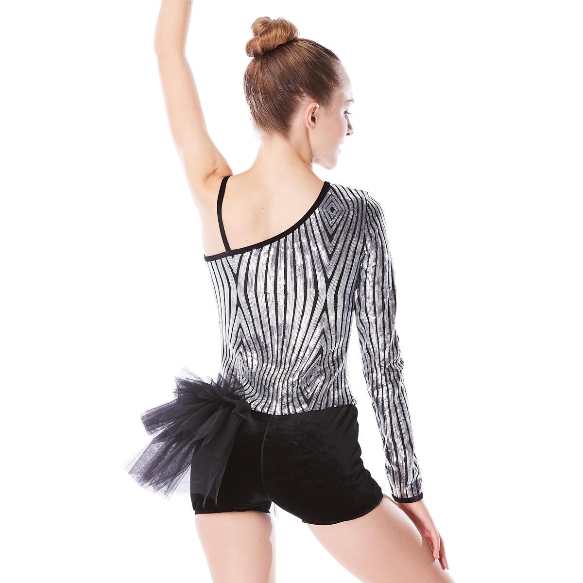 MiDee Sliver and Black Line Girls Ballet Dance Costumes